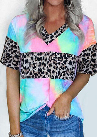 Tie Dye Leopard Splicing T-Shirt Tee