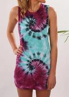 Summer Clothes Swirl Tie Dye Sleeveless Mini Dress