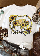 Leopard Sunflower Bull Wild And Free T-Shirt Tee
