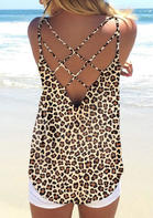 Leopard Criss-Cross Open Back Camisole