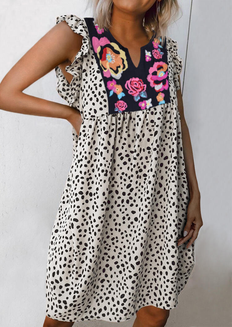 Floral Dresses Leopard Splicing Floral Ruffled Casual Dress