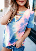 Tie Dye Hollow Out V-Neck Blouse