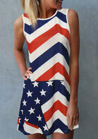 American Flag Star Sleeveless Mini Dress in Stripe