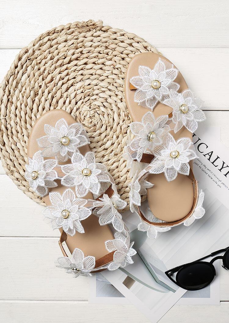 Summer Sunflower Pearl Slip On Flat Sandals