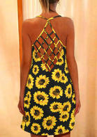 Summer Clothes Sunflower Criss-Cross Mini Dress