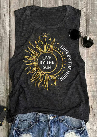 Sunflower Live By The Sun Love By The Moon Tank - Gray