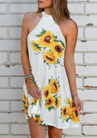 Summer Clothes Sunflower Open Back Halter Mini Dress