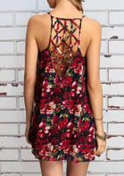 Summer Clothes Floral Hollow Out Spaghetti Strap Mini Dress