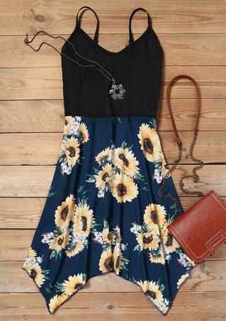 Sunflower Irregular Spaghetti Strap Mini Dress - Black