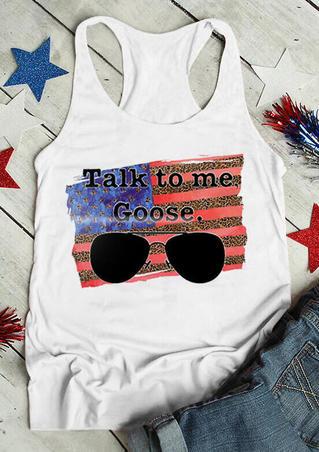 Leopard American Flag Star Talk To Me Goose Tank - White