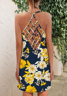 Summer Clothes Floral Criss-Cross Spaghetti Strap Mini Dress