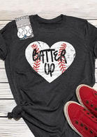 Batter Up Heart Baseball T-Shirt Tee