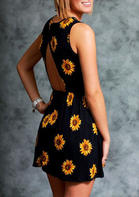 Summer Clothes Sunflower Open Back Ruffled Mini Dress