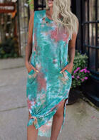 Tie Dye Pocket Slit Casual Dress