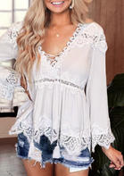 Lace Splicing Criss-Cross Blouse
