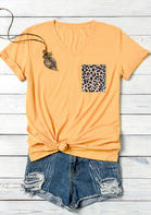 Leopard Pocket V-Neck T-Shirt Tee