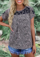 Leopard Floral Splicing T-Shirt Tee