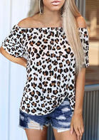 Leopard Twist Off Shoulder Blouse