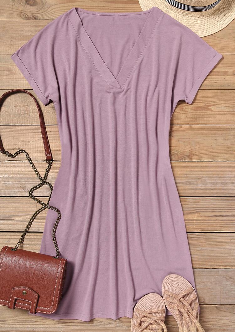 Pocket V-Neck Mini Dress - Cameo Brown
