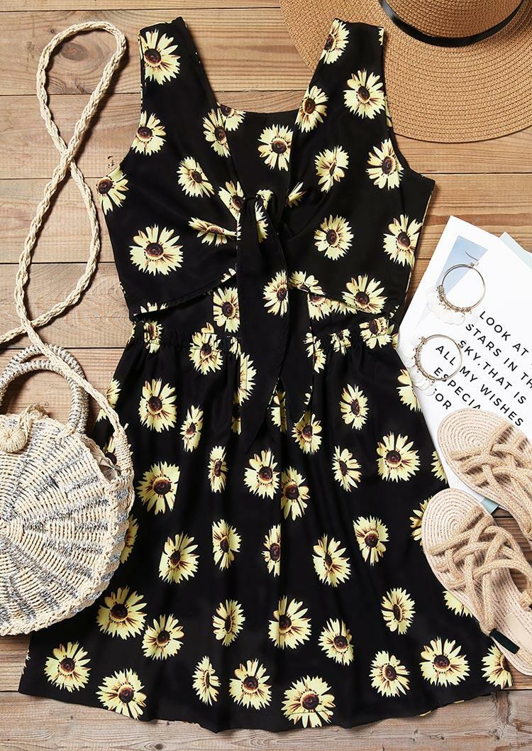 Sunflower Open Back Tie Mini Dress - Black