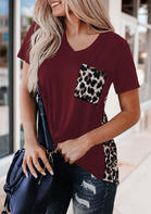 Leopard Printed Splicing T-Shirt Tee