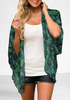 Leaf Three Quarter Sleeve Cardigan - Green