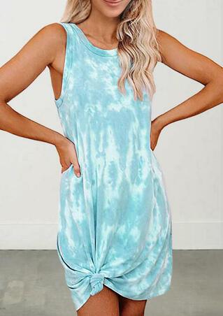 Tie Dye Sleeveless Mini Dress - Lake Blue