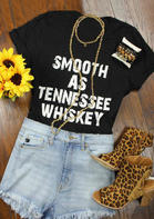 Smooth As Tennessee Whiskey T-Shirt Tee - Black