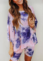 Tie Dye Blouse And Shorts Pajamas Set