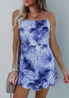 Tie Dye Spaghetti Strap Mini Dress - Blue