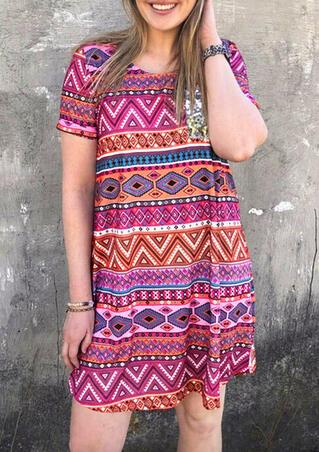 Aztec Geometric Sequined Splicing Pocket Mini Dress
