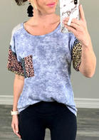 Tie Dye Leopard Pocket Splicing T-Shirt Tee