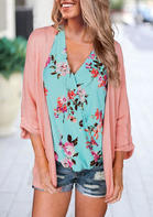 Floral Wrap V-Neck Tank - Green