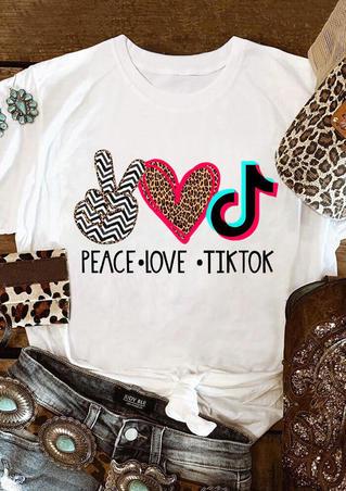 Leopard Peace Love Tiktok  T-Shirt Tee - White