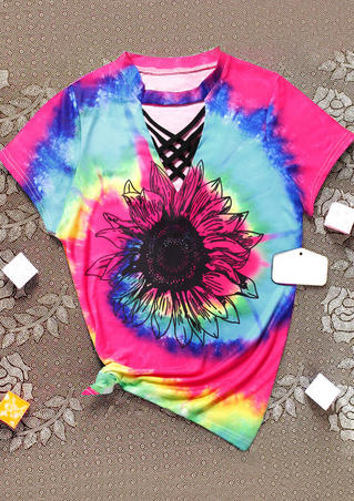 Tie Dye Sunflower V-Neck Blouse without Criss-Cross Camisole