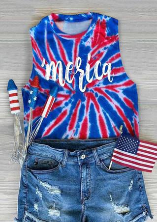 Tie Dye Merica O-Neck Tank - Blue