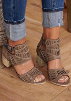 Rhinestone Hollow Out Buckle Strap Sandals