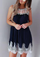 Lace Splicing Hollow Out Sleeveless Mini Dress - Navy Blue