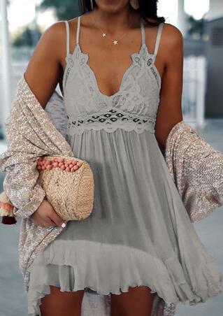 Lace Splicing Ruffled Spaghetti Strap Mini Dress without Necklace - Gray