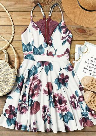 Floral Lace Splicing Zipper Open Back Mini Dress