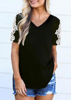 Lace Splicing V-Neck Blouse - Black