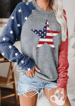 American Flag Star O-Neck Sweatshirt - Gray