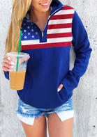 American Flag Pocket Zipper V-Neck Sweatshirt - Blue