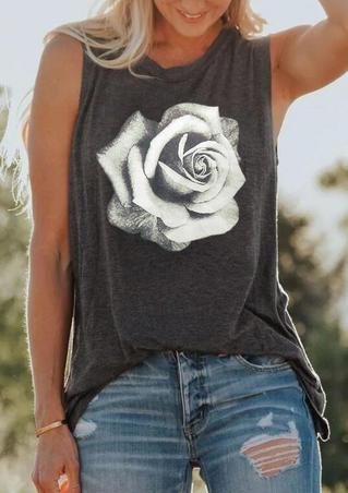 Rose O-Neck Tank - Dark Grey