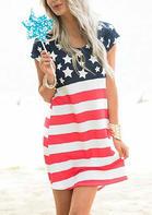 American Flag Star Striped Open Back Mini Dress