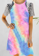 Tie Dye Leopard Splicing Mini Dress