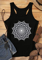 Mandala O-Neck Tank - Black
