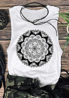Mandala O-Neck Tank without Necklace - White