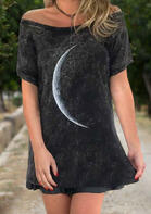 Moon Ruffled Off Shoulder Mini Dress - Black