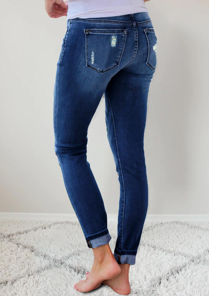 Ripped Leopard Patch Pocket High Waist Skinny Jeans - Blue